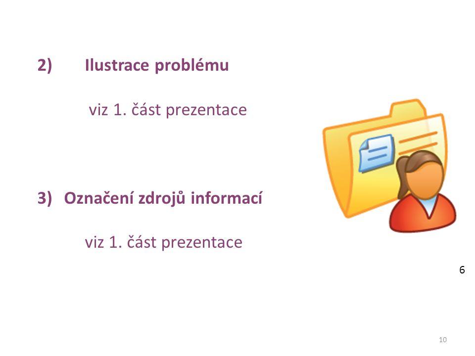 10 2)Ilustrace problému viz 1. část prezentace 3)Označení zdrojů informací viz 1. část prezentace 6