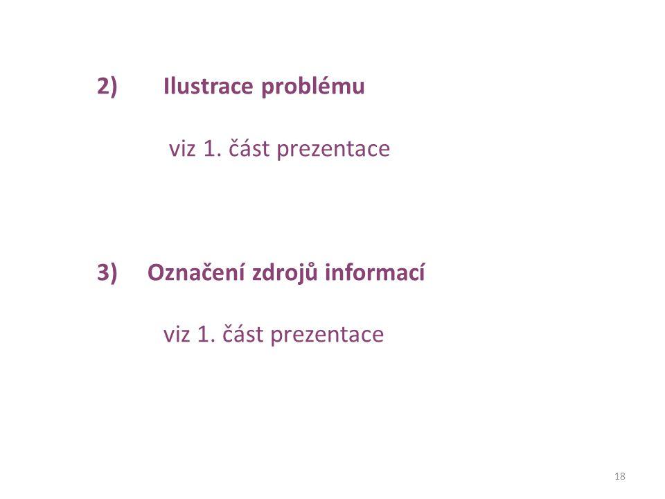 18 2)Ilustrace problému viz 1. část prezentace 3) Označení zdrojů informací viz 1. část prezentace