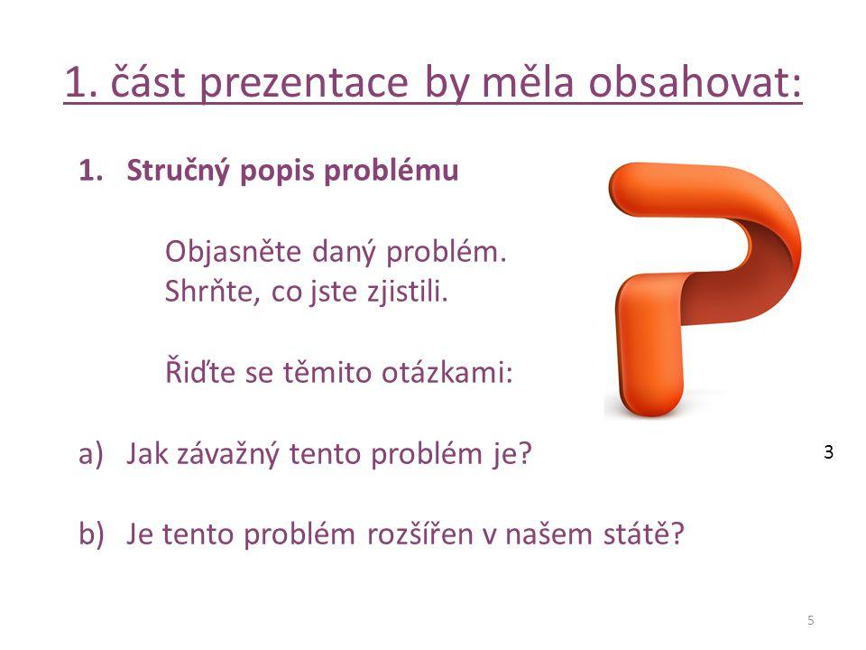 1. část prezentace by měla obsahovat: 5 1.Stručný popis problému Objasněte daný problém.