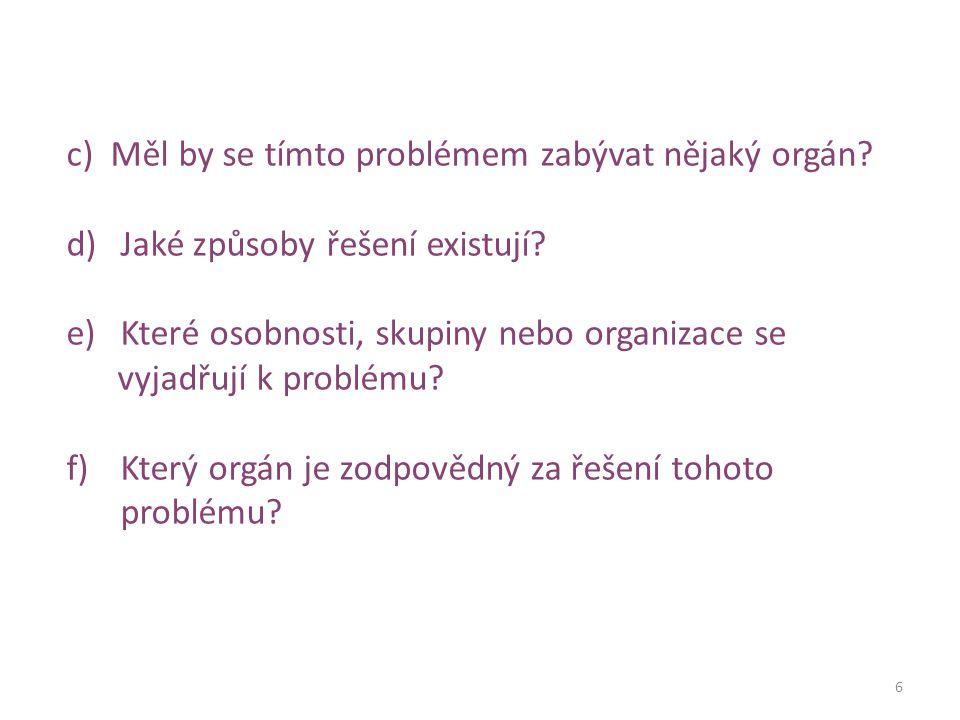 6 c) Měl by se tímto problémem zabývat nějaký orgán.