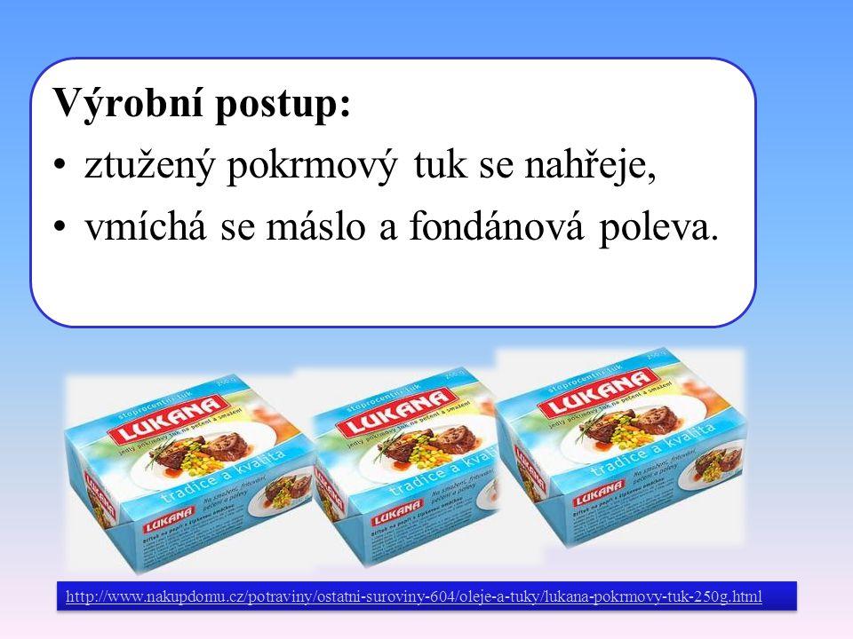Výrobní postup: ztužený pokrmový tuk se nahřeje, vmíchá se máslo a fondánová poleva. http://www.nakupdomu.cz/potraviny/ostatni-suroviny-604/oleje-a-tu