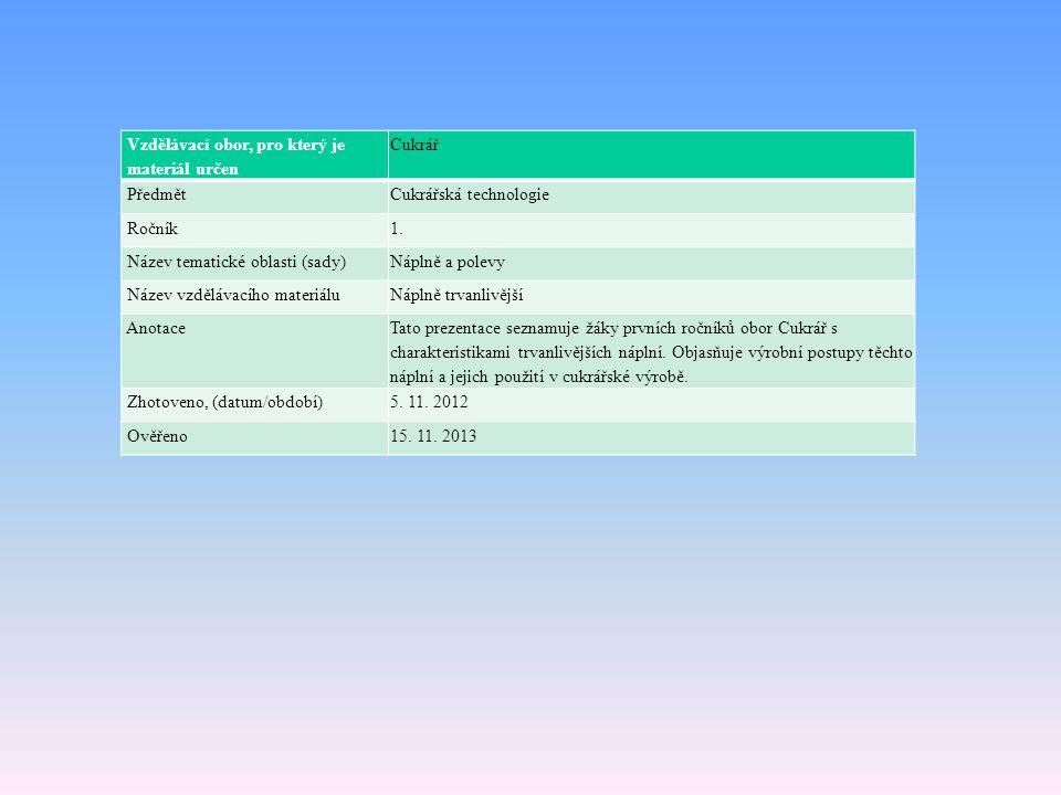Vzdělávací obor, pro který je materiál určen Cukrář PředmětCukrářská technologie Ročník1. Název tematické oblasti (sady)Náplně a polevy Název vzděláva