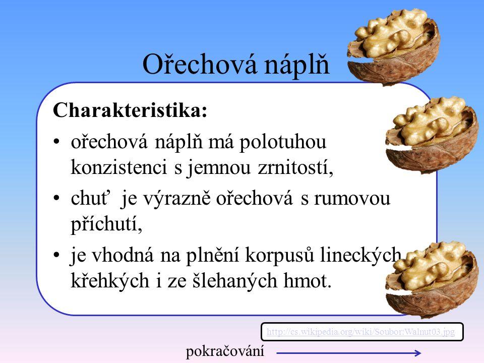 Ořechová náplň Charakteristika: ořechová náplň má polotuhou konzistenci s jemnou zrnitostí, chuť je výrazně ořechová s rumovou příchutí, je vhodná na plnění korpusů lineckých, křehkých i ze šlehaných hmot.