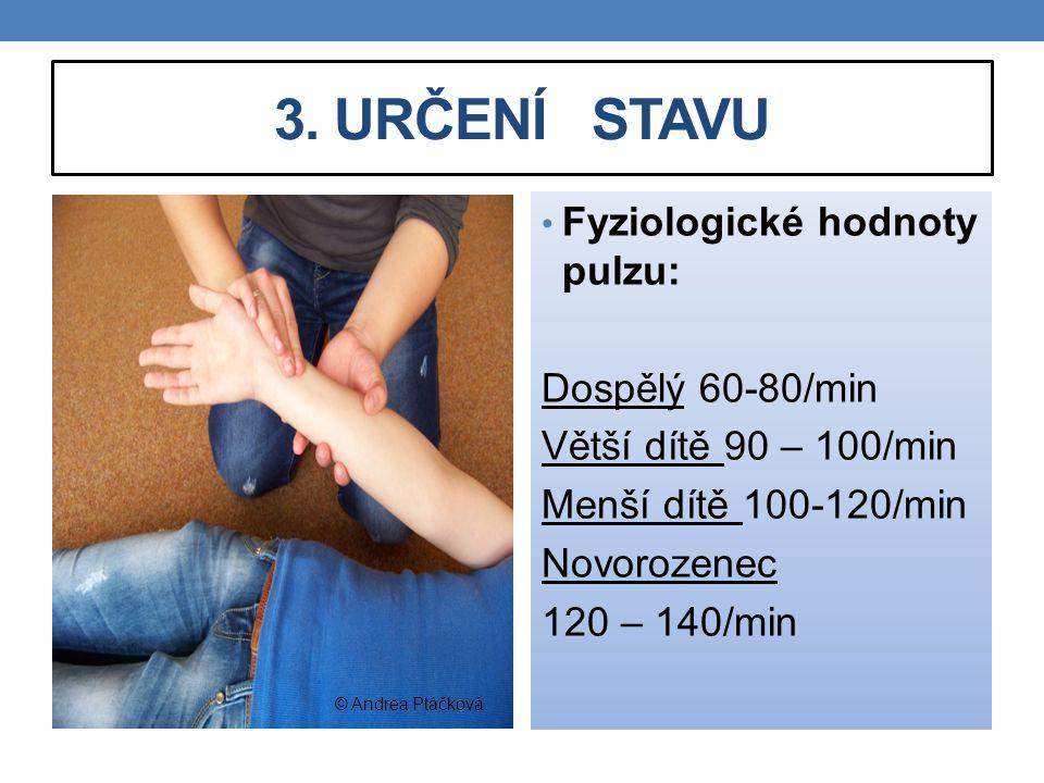 3. URČENÍ STAVU Fyziologické hodnoty pulzu: Dospělý 60-80/min Větší dítě 90 – 100/min Menší dítě 100-120/min Novorozenec 120 – 140/min © Andrea Ptáčko