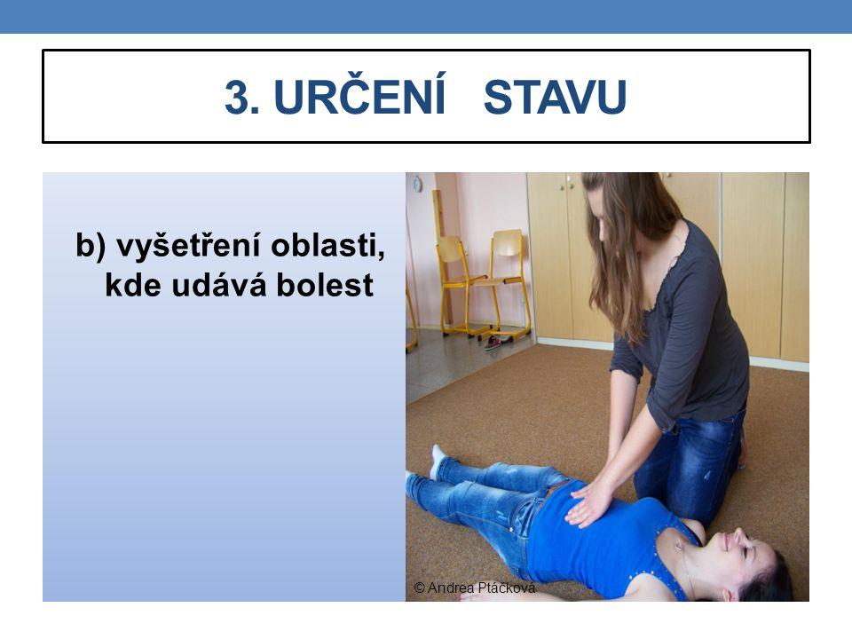 3. URČENÍ STAVU b) vyšetření oblasti, kde udává bolest © Andrea Ptáčková