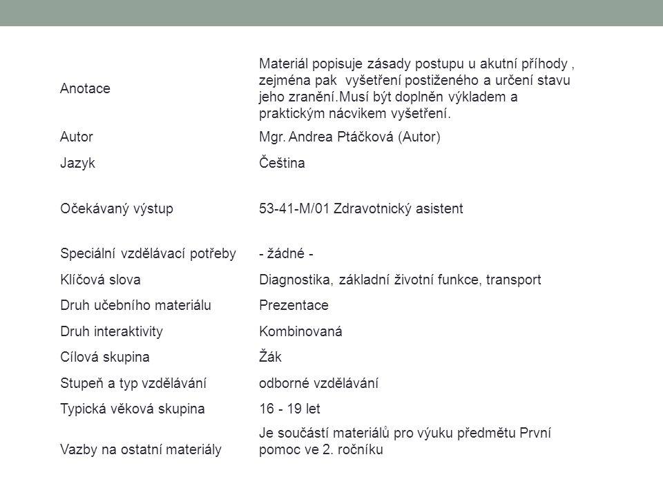 Anotace Materiál popisuje zásady postupu u akutní příhody, zejména pak vyšetření postiženého a určení stavu jeho zranění.Musí být doplněn výkladem a p