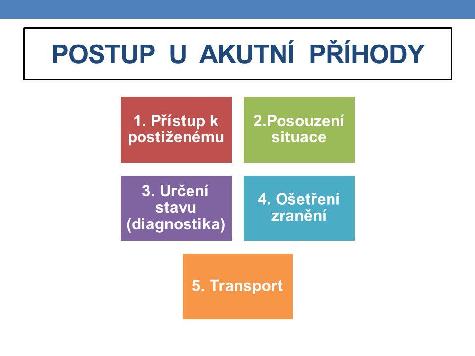 POSTUP U AKUTNÍ PŘÍHODY 1. Přístup k postiženému 2.Posouzení situace 3. Určení stavu (diagnostika) 4. Ošetření zranění 5. Transport