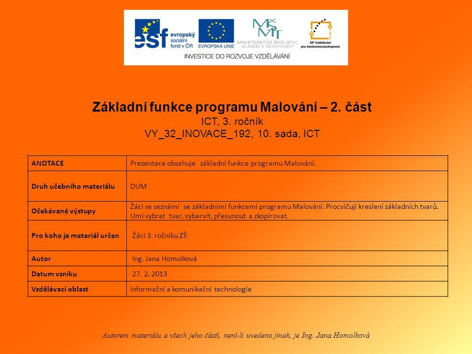 Základní funkce programu Malování 2.