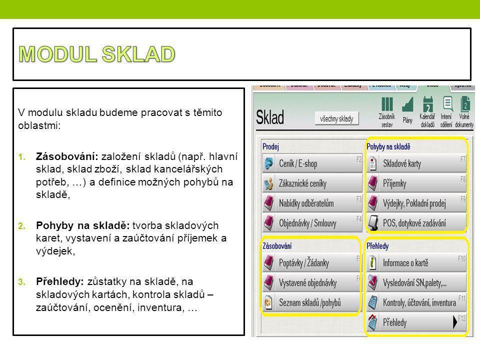 V modulu skladu budeme pracovat s těmito oblastmi: 1. Zásobování: založení skladů (např. hlavní sklad, sklad zboží, sklad kancelářských potřeb, …) a d