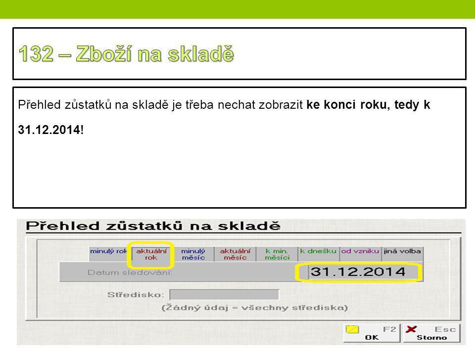 Přehled zůstatků na skladě je třeba nechat zobrazit ke konci roku, tedy k 31.12.2014!