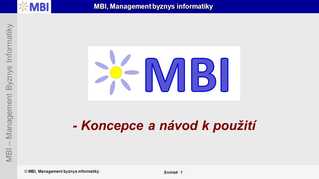 Snímek 1 MBI – Management Byznys Informatiky MBI, Management byznys informatiky - Koncepce a návod k použití © MBI, Management byznys informatiky
