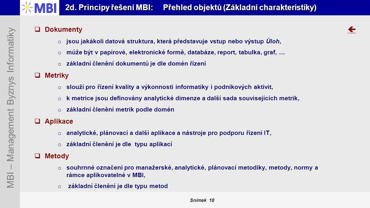 Snímek 10 MBI – Management Byznys Informatiky 2d. Principy řešení MBI: Přehled objektů (Základní charakteristiky)  Dokumenty o jsou jakákoli datová s