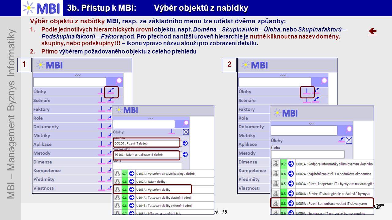 Snímek 15 MBI – Management Byznys Informatiky 3b. Přístup k MBI: Výběr objektů z nabídky Výběr objektů z nabídky MBI, resp. ze základního menu lze udě