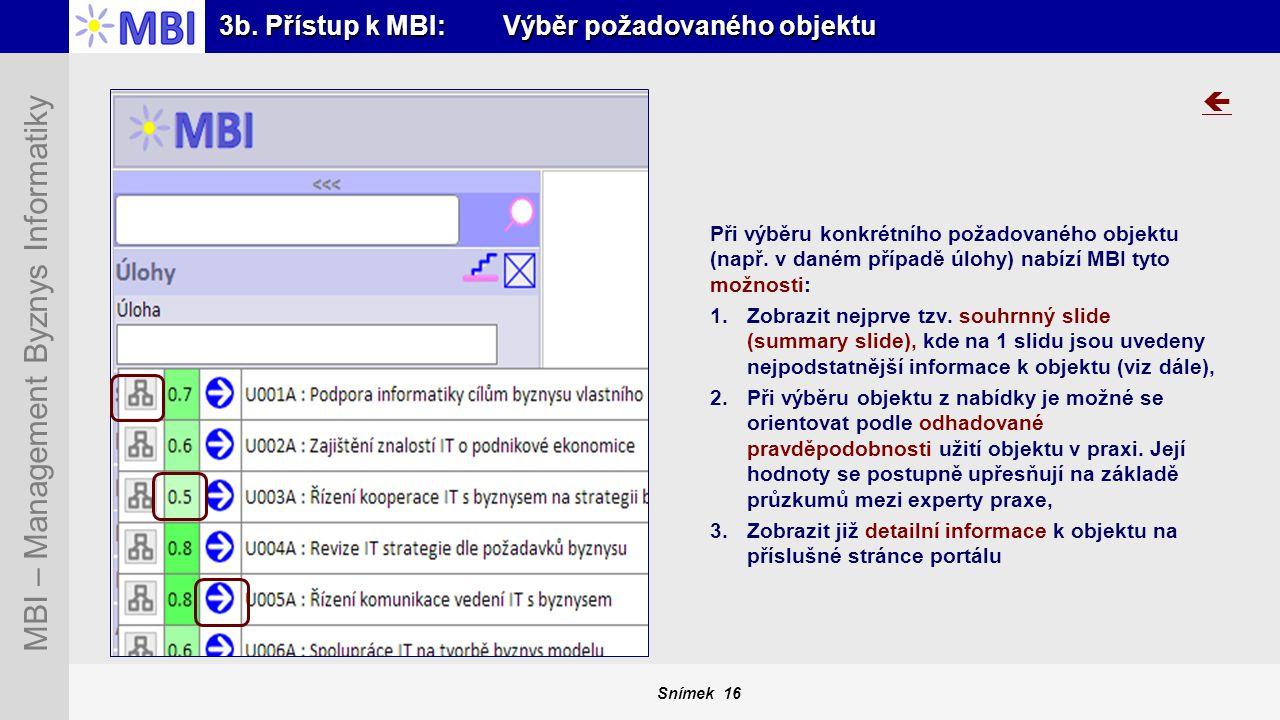 Snímek 16 MBI – Management Byznys Informatiky 3b. Přístup k MBI: Výběr požadovaného objektu Při výběru konkrétního požadovaného objektu (např. v daném