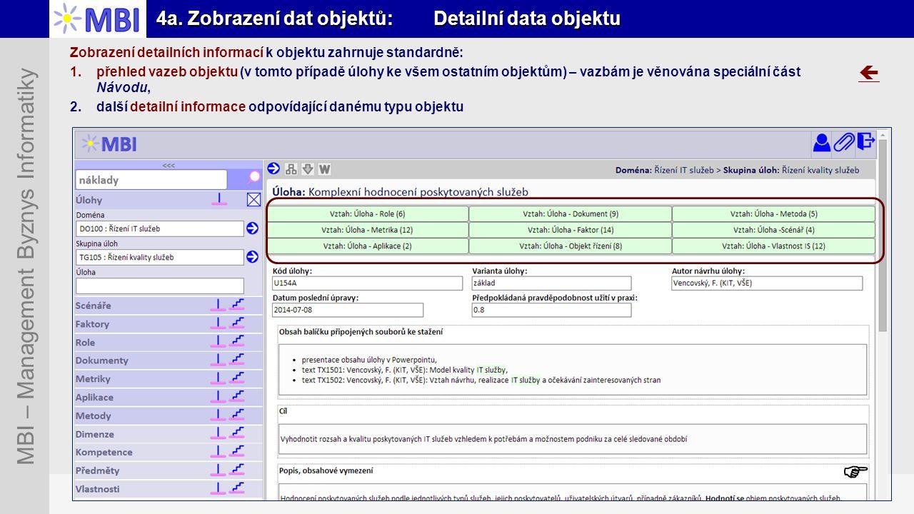 Snímek 22 MBI – Management Byznys Informatiky 4a. Zobrazení dat objektů: Detailní data objektu Zobrazení detailních informací k objektu zahrnuje stand