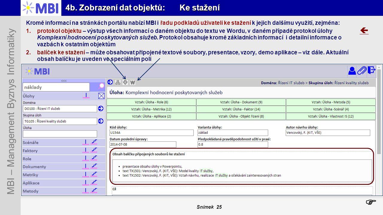 Snímek 25 MBI – Management Byznys Informatiky 4b. Zobrazení dat objektů: Ke stažení  Kromě informací na stránkách portálu nabízí MBI i řadu podkladů
