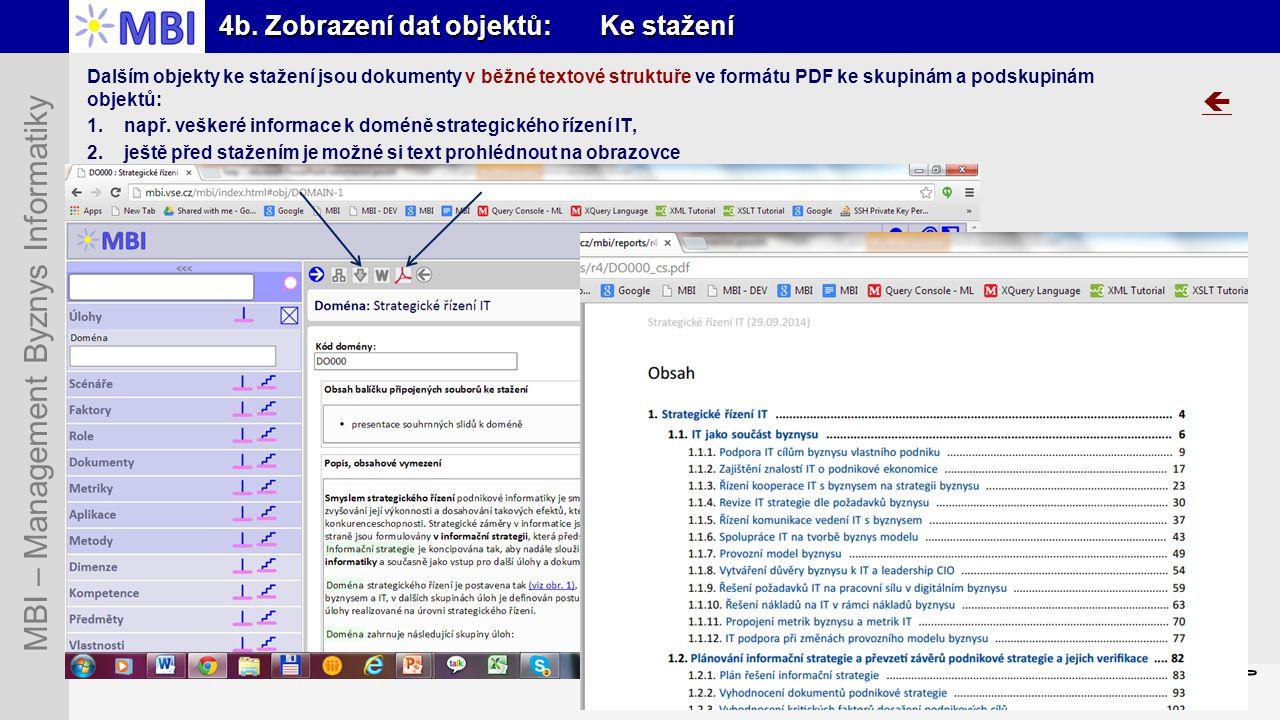 Snímek 26 MBI – Management Byznys Informatiky 4b. Zobrazení dat objektů: Ke stažení  Dalším objekty ke stažení jsou dokumenty v běžné textové struktu