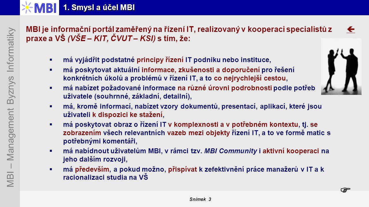 Snímek 3 MBI – Management Byznys Informatiky 1. Smysl a účel MBI MBI je informační portál zaměřený na řízení IT, realizovaný v kooperaci specialistů z