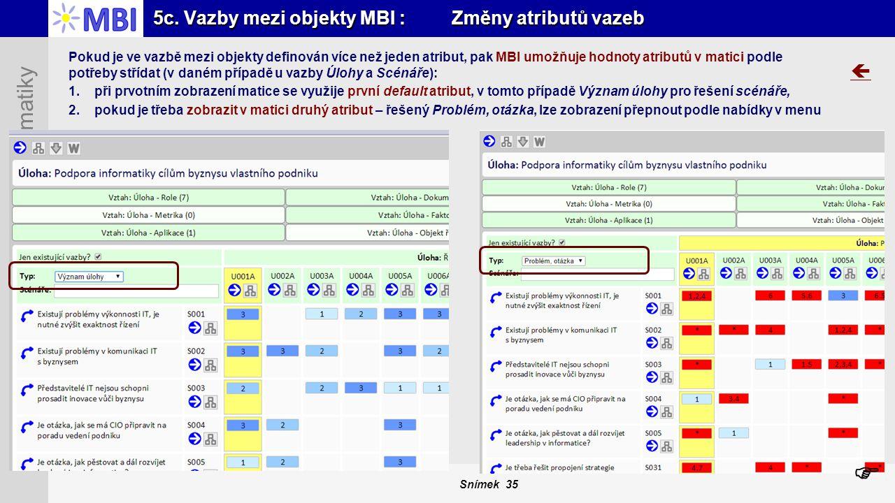 Snímek 35 MBI – Management Byznys Informatiky 5c. Vazby mezi objekty MBI : Změny atributů vazeb  Pokud je ve vazbě mezi objekty definován více než je