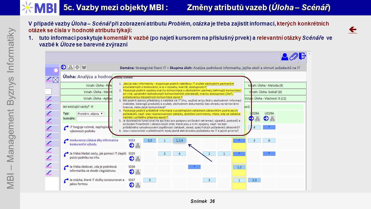Snímek 36 MBI – Management Byznys Informatiky 5c. Vazby mezi objekty MBI : Změny atributů vazeb (Úloha – Scénář)  V případě vazby Úloha – Scénář při