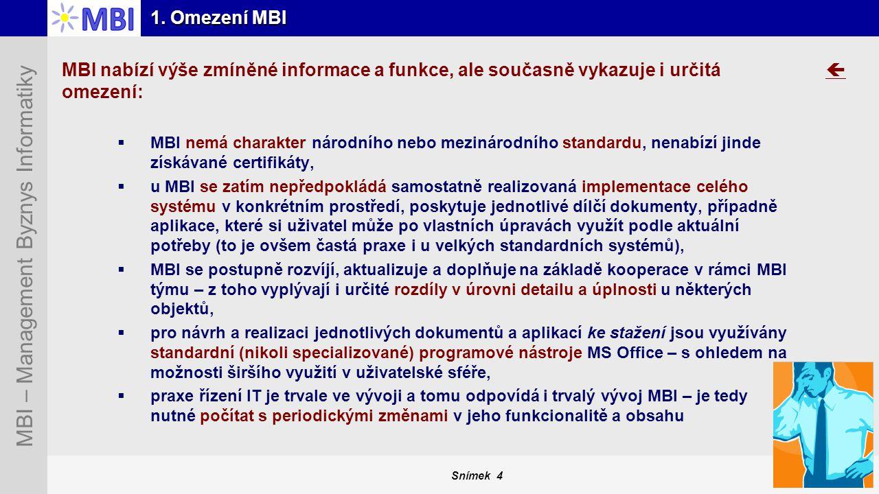 Snímek 4 MBI – Management Byznys Informatiky 1. Omezení MBI MBI nabízí výše zmíněné informace a funkce, ale současně vykazuje i určitá omezení:  MBI