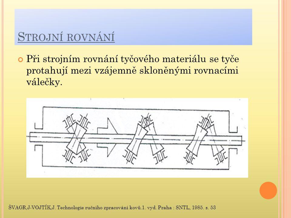 S TROJNÍ ROVNÁNÍ Při strojním rovnání tyčového materiálu se tyče protahují mezi vzájemně skloněnými rovnacími válečky.
