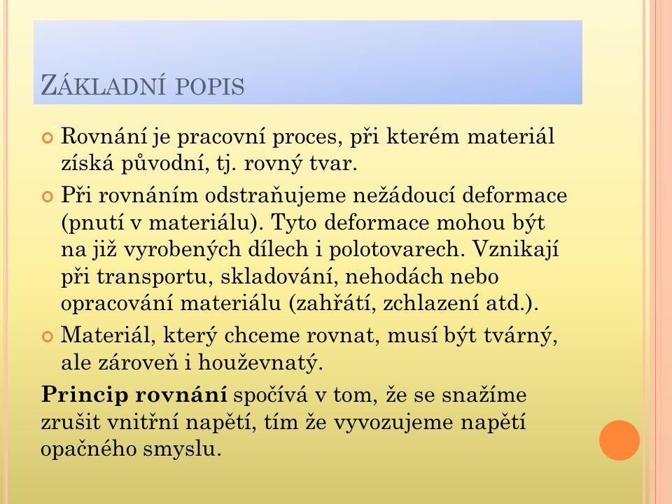 Z ÁKLADNÍ POPIS Rovnání je pracovní proces, při kterém materiál získá původní, tj.