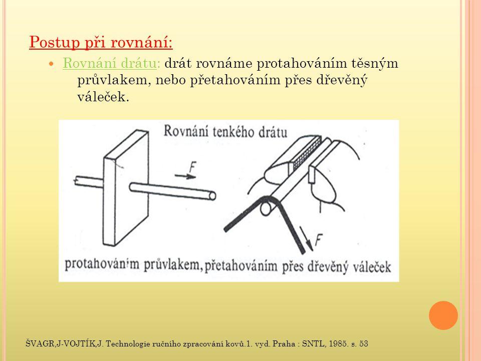 Postup při rovnání: Rovnání drátu: drát rovnáme protahováním těsným průvlakem, nebo přetahováním přes dřevěný váleček.