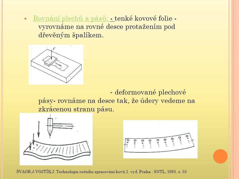 Rovnání plechů a pásů: - tenké kovové folie - vyrovnáme na rovné desce protažením pod dřevěným špalíkem.