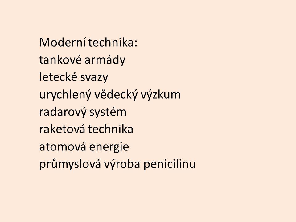 Moderní technika: tankové armády letecké svazy urychlený vědecký výzkum radarový systém raketová technika atomová energie průmyslová výroba penicilinu