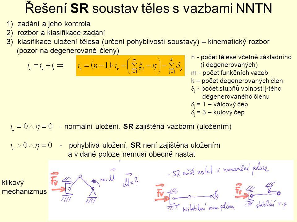 Řešení SR soustav těles s vazbami NNTN 1)zadání a jeho kontrola 2)rozbor a klasifikace zadání 3)klasifikace uložení tělesa (určení pohyblivosti sousta