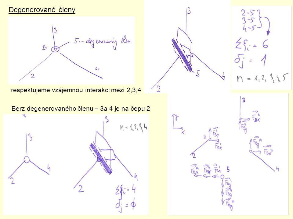 Degenerované členy respektujeme vzájemnou interakci mezi 2,3,4 Berz degenerovaného členu – 3a 4 je na čepu 2