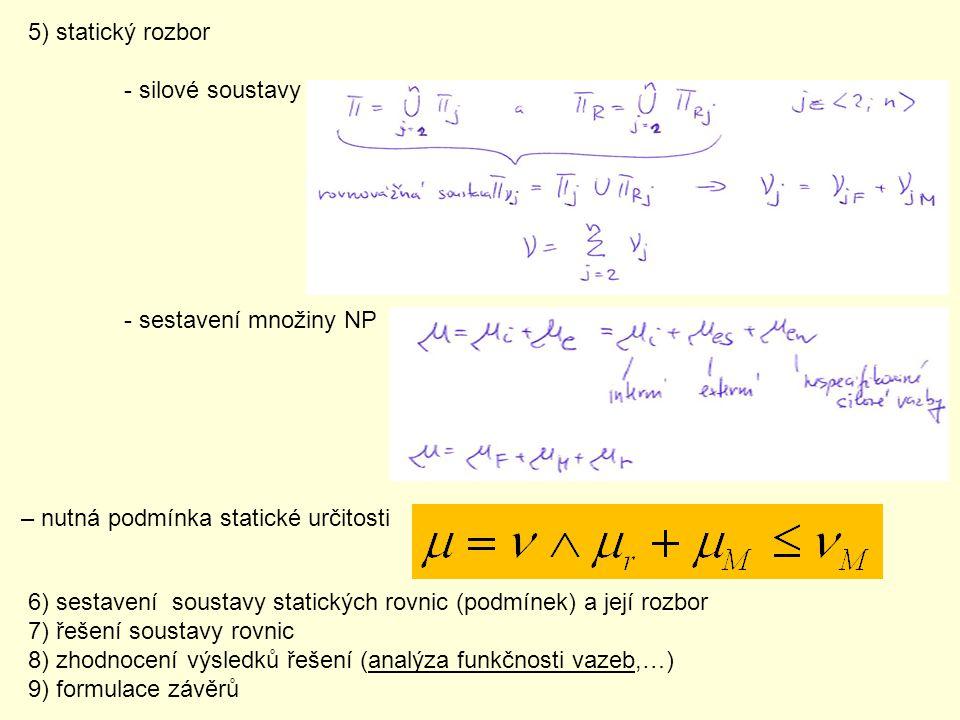 5) statický rozbor - silové soustavy - sestavení množiny NP – nutná podmínka statické určitosti 6) sestavení soustavy statických rovnic (podmínek) a j