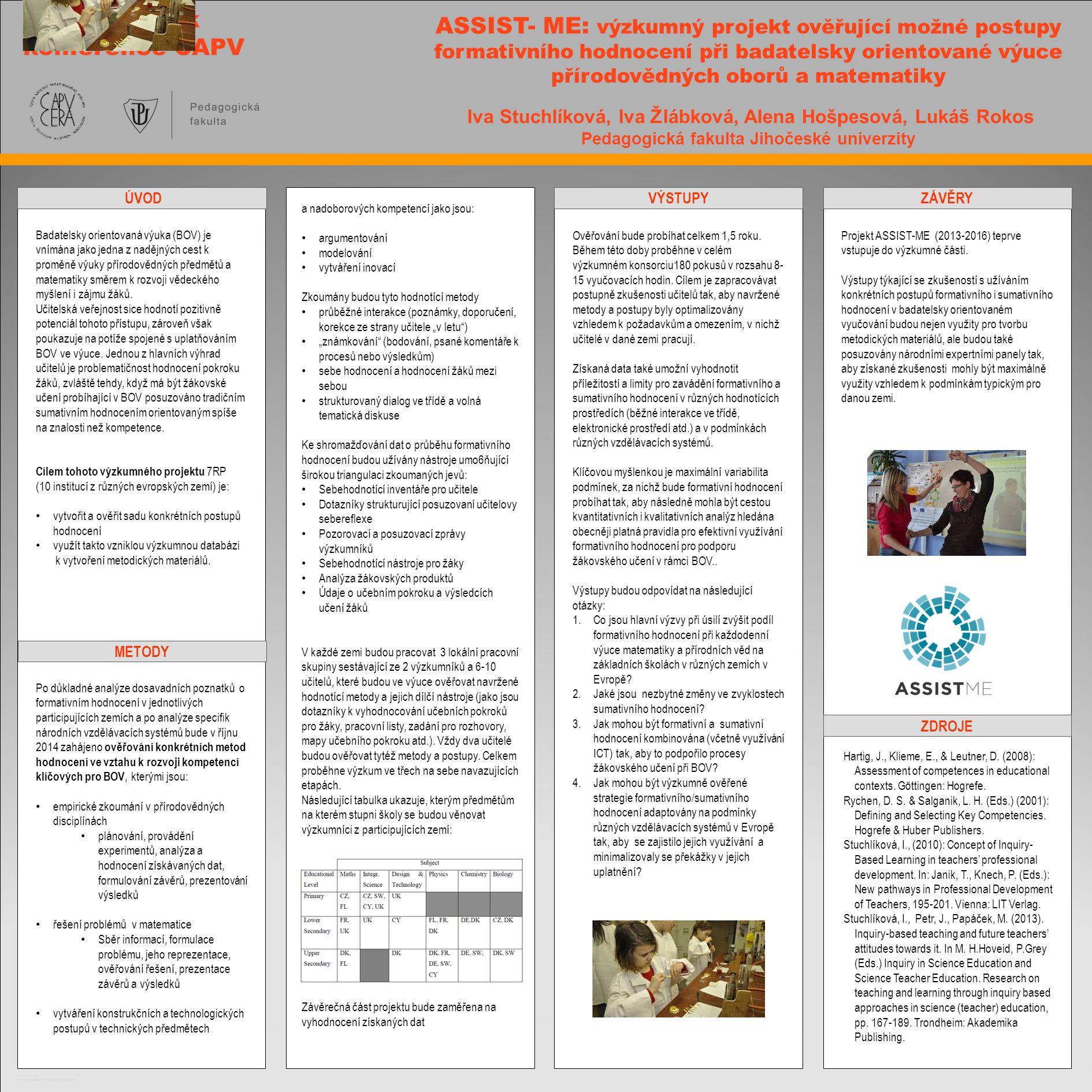 TEMPLATE DESIGN © 2008 www.PosterPresentations.com ASSIST- ME: výzkumný projekt ověřující možné postupy formativního hodnocení při badatelsky orientov