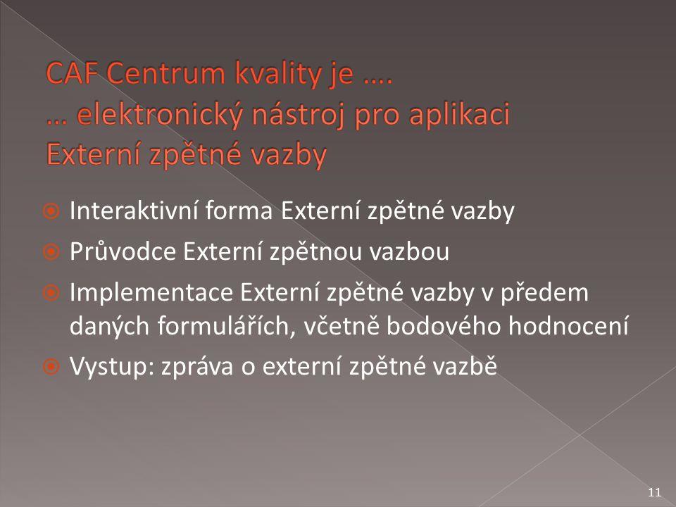  Interaktivní forma Externí zpětné vazby  Průvodce Externí zpětnou vazbou  Implementace Externí zpětné vazby v předem daných formulářích, včetně bodového hodnocení  Vystup: zpráva o externí zpětné vazbě 11