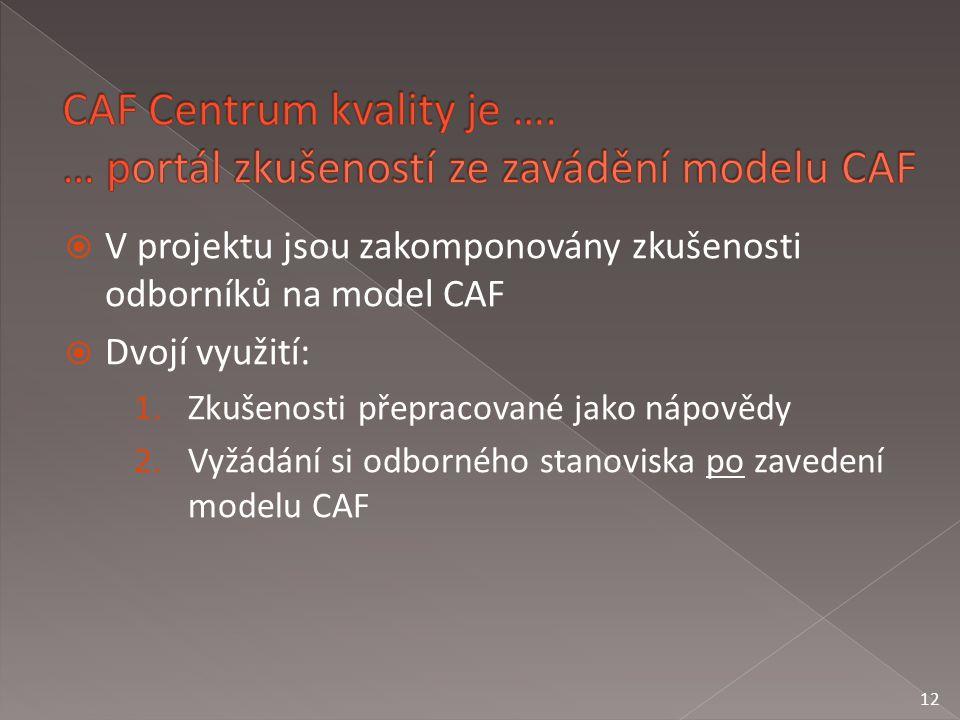 V projektu jsou zakomponovány zkušenosti odborníků na model CAF  Dvojí využití: 1.Zkušenosti přepracované jako nápovědy 2.Vyžádání si odborného stanoviska po zavedení modelu CAF 12