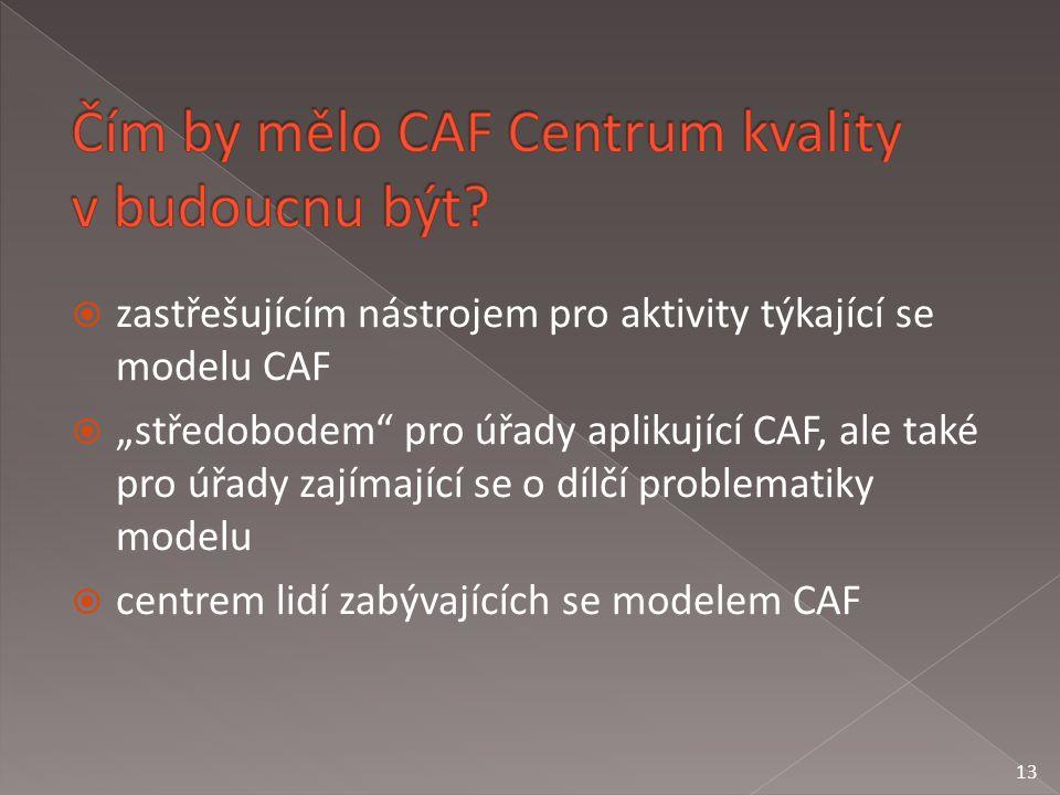 """ zastřešujícím nástrojem pro aktivity týkající se modelu CAF  """"středobodem pro úřady aplikující CAF, ale také pro úřady zajímající se o dílčí problematiky modelu  centrem lidí zabývajících se modelem CAF 13"""