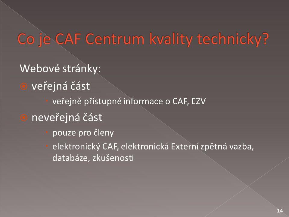 Webové stránky:  veřejná část  veřejně přístupné informace o CAF, EZV  neveřejná část  pouze pro členy  elektronický CAF, elektronická Externí zpětná vazba, databáze, zkušenosti 14