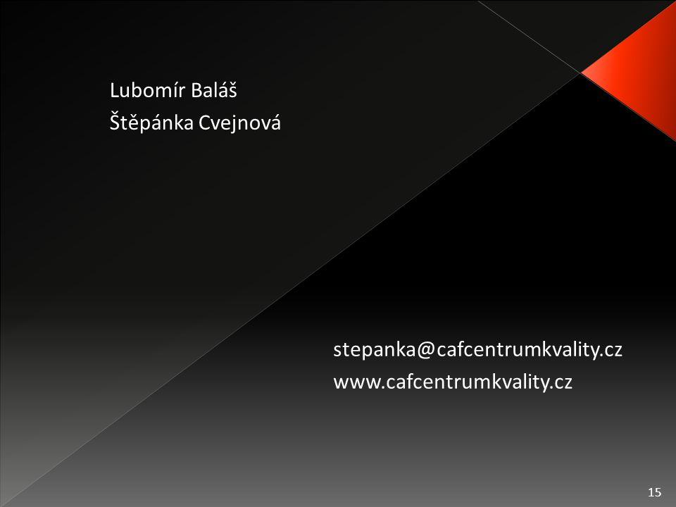 15 stepanka@cafcentrumkvality.cz www.cafcentrumkvality.cz Lubomír Baláš Štěpánka Cvejnová