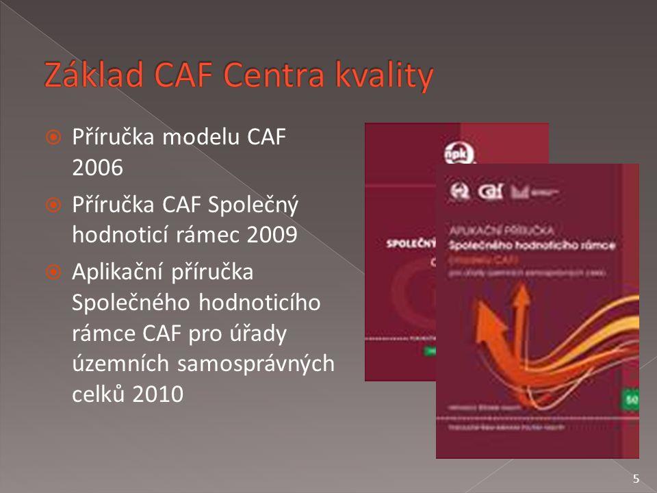  Příručka modelu CAF 2006  Příručka CAF Společný hodnoticí rámec 2009  Aplikační příručka Společného hodnoticího rámce CAF pro úřady územních samosprávných celků 2010 5