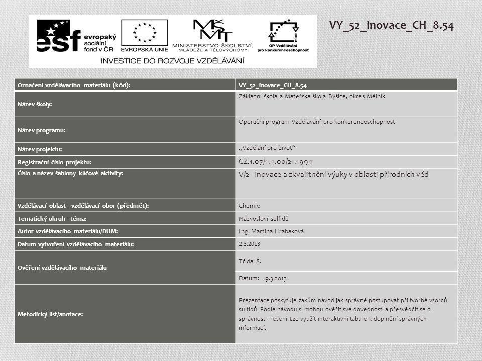 VY_52_inovace_CH_8.54 Označení vzdělávacího materiálu (kód):VY_52_inovace_CH_8.54 Název školy: Základní škola a Mateřská škola Byšice, okres Mělník Ná