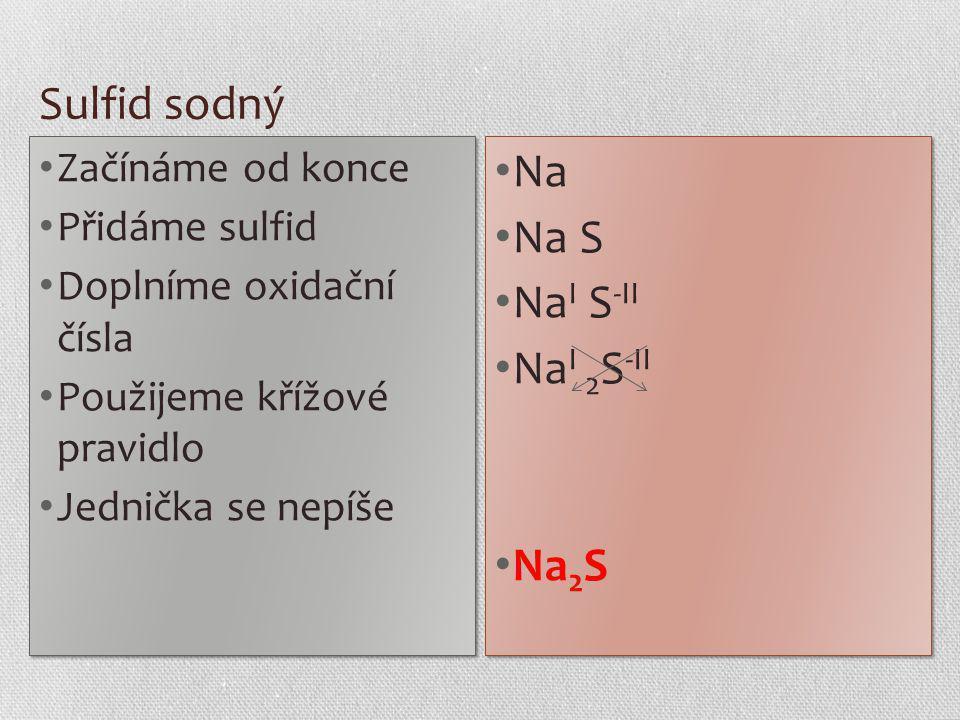 Sulfid sodný Začínáme od konce Přidáme sulfid Doplníme oxidační čísla Použijeme křížové pravidlo Jednička se nepíše Začínáme od konce Přidáme sulfid D