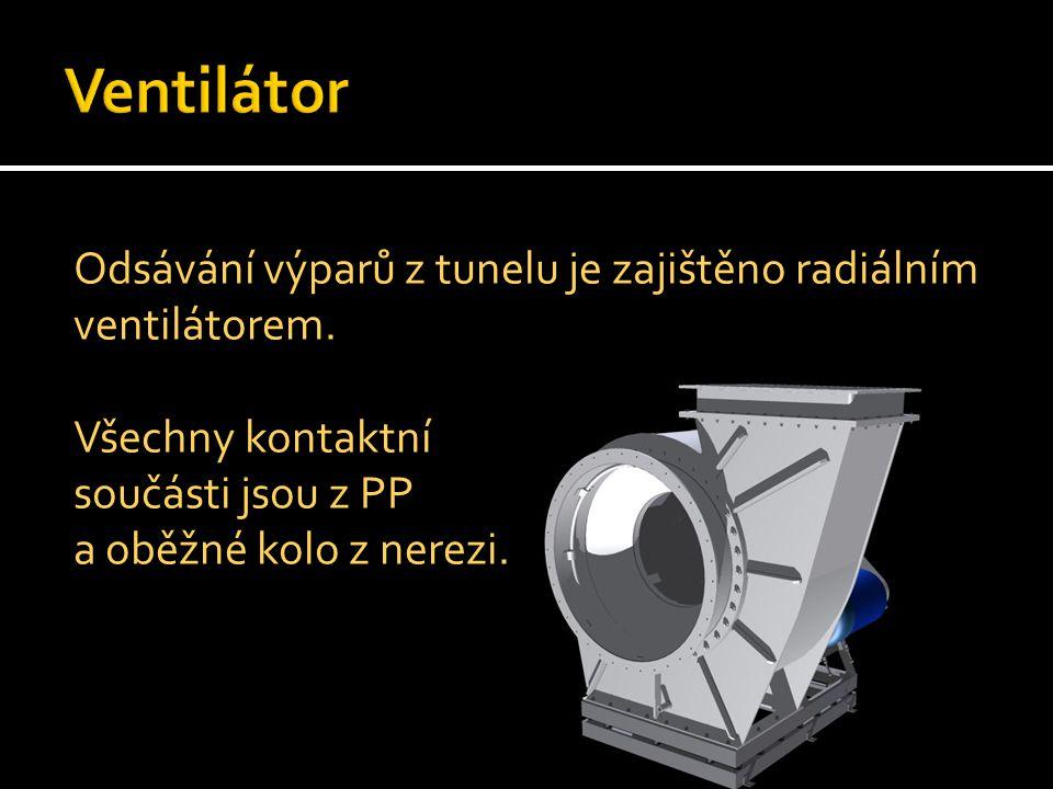 Odsávání výparů z tunelu je zajištěno radiálním ventilátorem. Všechny kontaktní součásti jsou z PP a oběžné kolo z nerezi.
