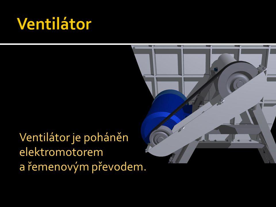 Ventilátor je poháněn elektromotorem a řemenovým převodem.