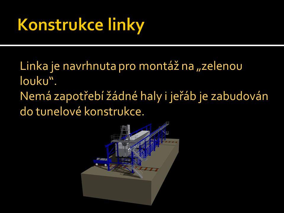 V ocelové konstrukci je umístěn tunel z PP ve kterém jsou vany: - 1x HCL - 3x Tavenina - 3x oplach - 1x tavenina - 1x oplach Mimo tunel je umístěna sušící vana, jeřáb a dopravníky materiálů