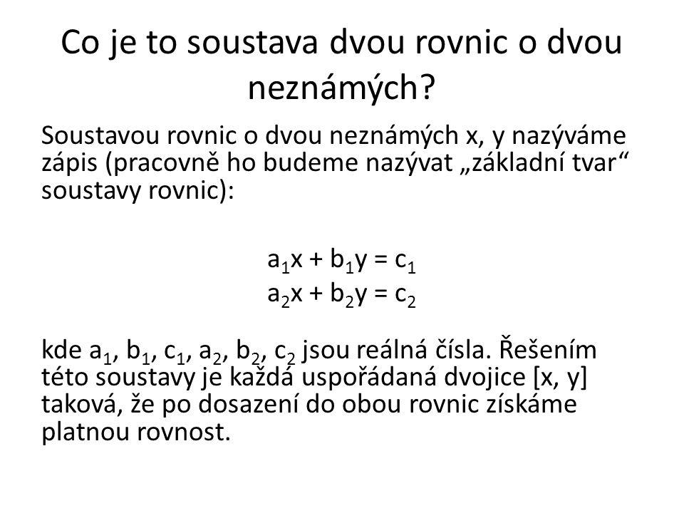 Co je to soustava dvou rovnic o dvou neznámých.