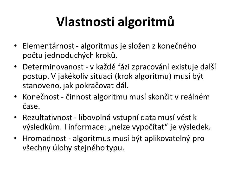 Vlastnosti algoritmů Elementárnost - algoritmus je složen z konečného počtu jednoduchých kroků. Determinovanost - v každé fázi zpracování existuje dal