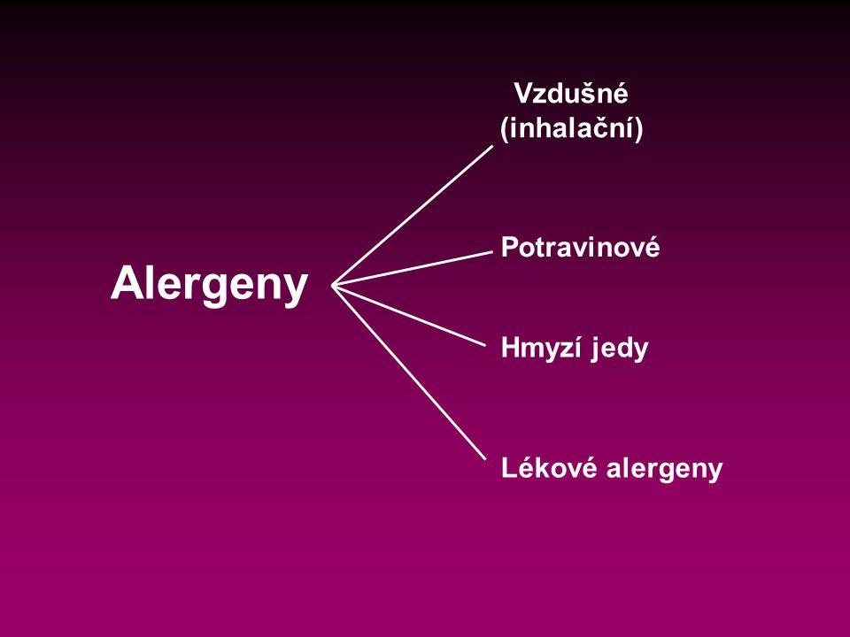 Alergeny Vzdušné (inhalační) Potravinové Hmyzí jedy Lékové alergeny