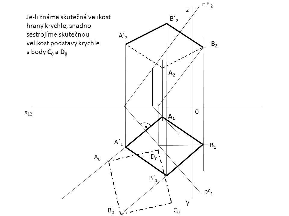 x 12 0 z y pρ1pρ1 n ρ 2 A1A1 B2B2 A2A2 B1B1 A´ 1 B´ 1 A´ 2 B´ 2 A0A0 B0B0 D0D0 C0C0 Je-li známa skutečná velikost hrany krychle, snadno sestrojíme sku
