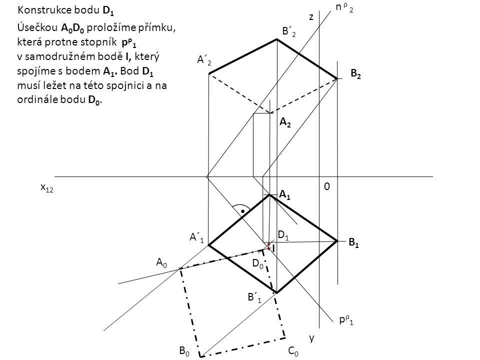 x 12 0 z y pρ1pρ1 n ρ 2 A1A1 B2B2 A2A2 B1B1 A´ 1 B´ 1 A´ 2 B´ 2 A0A0 B0B0 D0D0 C0C0 I D1D1 Konstrukce bodu D 1 Úsečkou A 0 D 0 proložíme přímku, která